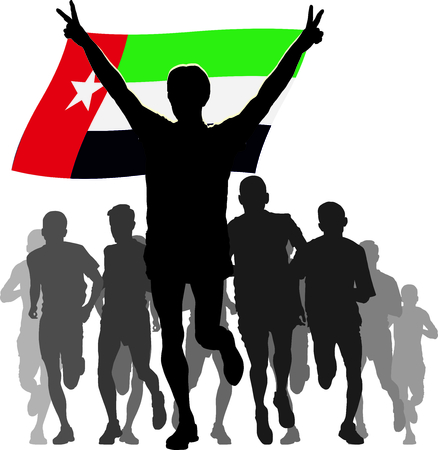 enemies: Illustration silhouettes of athletes, runners at the finish, winner holding United Arab Emirates flag overhead