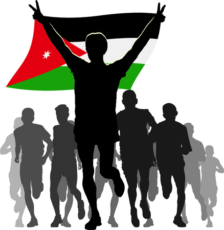 rival: Illustration silhouettes of athletes runners at the finish winner holding Jordan flag overhead