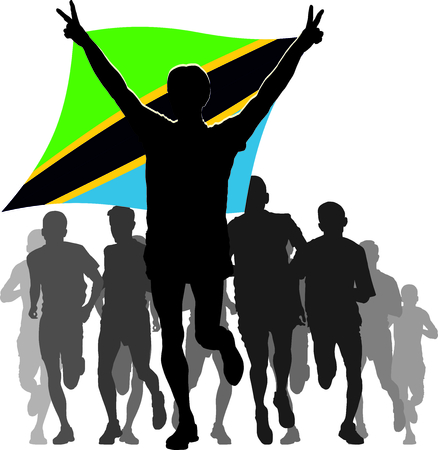 rivalry: Illustration silhouettes of athletes runners at the finish winner holding Tanzania flag overhead Illustration
