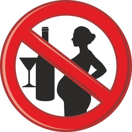 simbolo de la mujer: prohibición de la ilustración símbolo de alcohol para las mujeres embarazadas