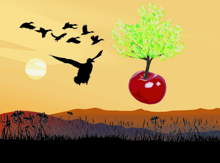 orchards: vector illustration of a flying tree growing out of cherries fruit