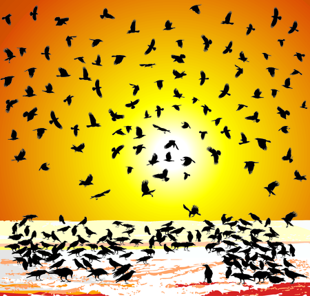 carrion: vector illustration crows in winter at sunset Illustration