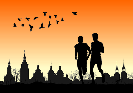 historic: illustration two silhouettes of runners on the background of the historic city