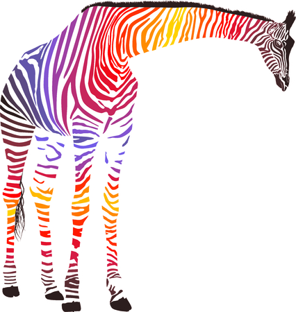big figure: Illustration Giraffe in the Zebra camouflage skin
