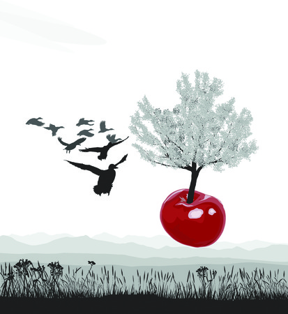 Vector illustration of a flying tree growing out of cherry fruit Illustration