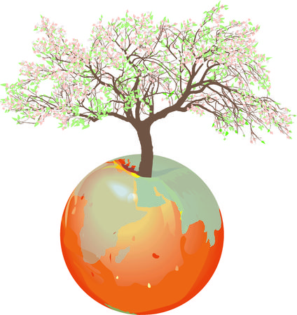 Vector illustration Earth - apple tree with growing tree