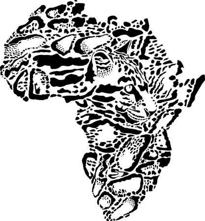 Abstract illustration of a symbol of Africa as a Clouded leopard skin Illustration