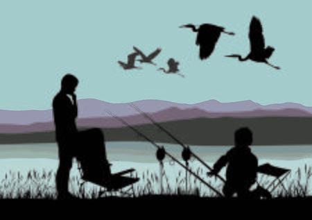 Ilustración vectorial de un niño pescando en la orilla de un lago y garzas