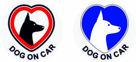 Sticker on the car with the motive of a dog in the car Ilustrace