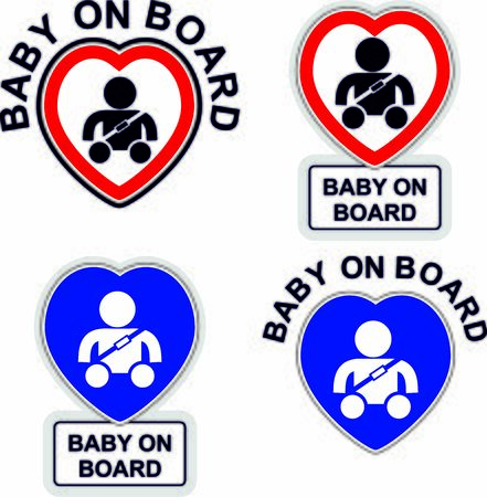 Sticker with red heart for children on board