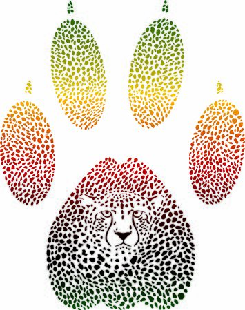 Color vector illustration of a cheetah camouflage in the shape of a cheetah trace