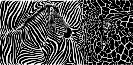 Vector black and white graphic background with zebra and giraffe motif
