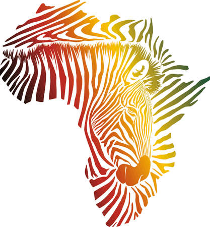 vector illustration of color abstract Africa as a zebra skin and head 矢量图像