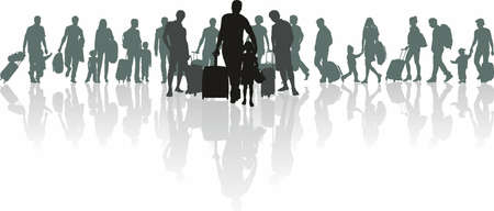 Vector illustration of silhouettes of people with luggage