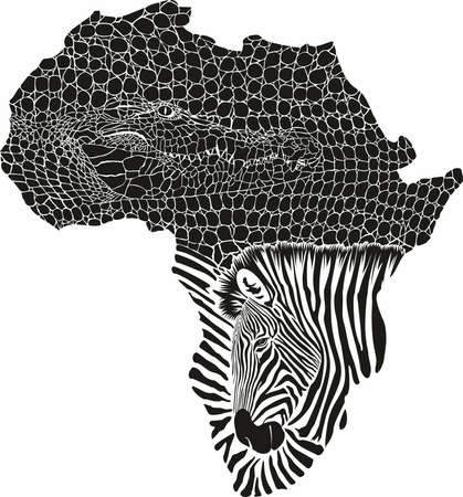 vector illustration of color abstract Africa as a crocodile and zebras skin