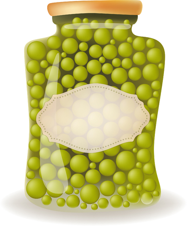 green peas: Glass jar of preserved green peas with label