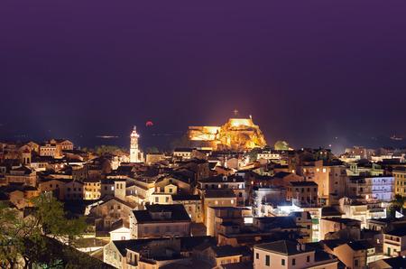 corfu greece night panorama landscape photo