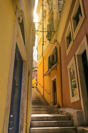 kerkyra: small steps street in corfu