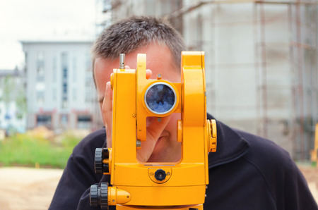 geodetic: geodetic measure optical theodolite Stock Photo
