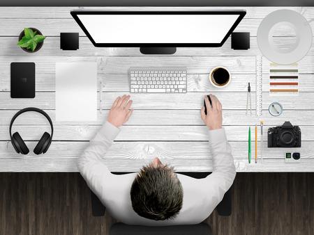 designer desk mockup scene with devices from top 版權商用圖片