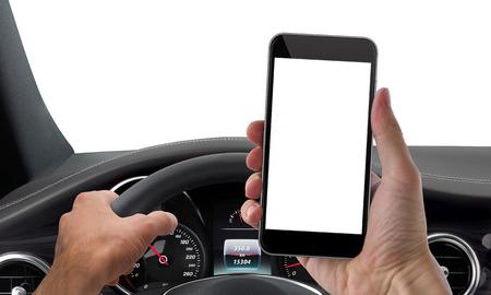 hombre conduciendo: aislado maqueta teléfono unidad