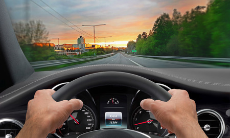 time drive: Driving hands steering wheel