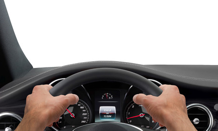 Driving hands steering wheel background isolated