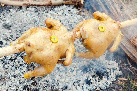 to spit: traditional preparation of chicken on a spit Stock Photo