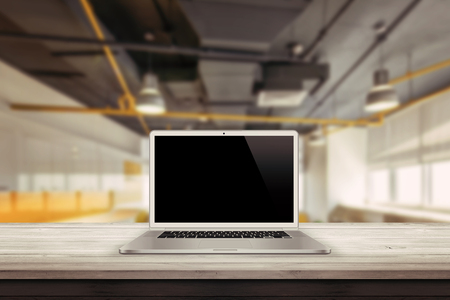 background images: white laptop on the desk in the office mockup presentation