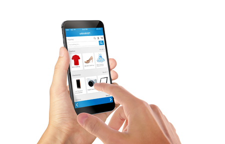 Smart phone online shopping in man hand isolated. Buy clothes shoes accessories with e commerce web site