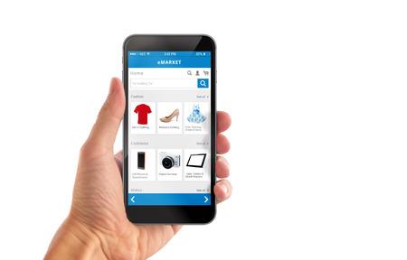 スマート分離された男の手に携帯電話のオンライン ショッピングします。服靴アクセサリー e コマース web サイトを購入します。