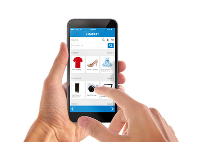Smart phone online shopping in man hand isolated. Buy clothes shoes accessories with e commerce web site 版權商用圖片 - 47612471