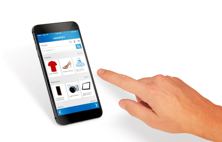 e commerce: Smart phone online shopping in man hand isolated. Buy clothes shoes accessories with e commerce web site