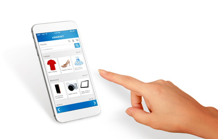Smart phone online shopping in woman hand isolated. Buy clothes shoes accessories with e commerce web site  Note to editor:     Unique mobile device.