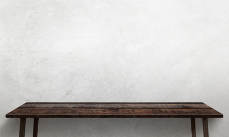 White wall texture in background. Wooden table with legs and free space. 版權商用圖片 - 49033529