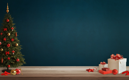 free space: Christmas scene with tree and decorations, lights, ornaments, balls, gifts. Free space on wall for Christmas card text.