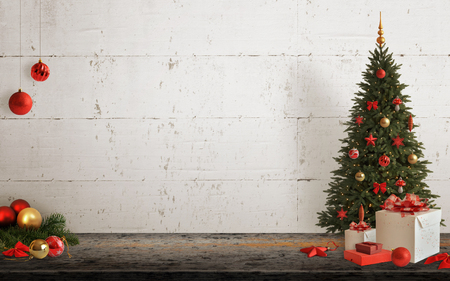 Christmas scene with tree and decorations, lights, ornaments, balls, gifts. Free space on wall for Christmas card text.