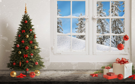 Christmas scene with tree and decorations, lights, ornaments, balls, gifts. Wall and window in background. Banque d'images