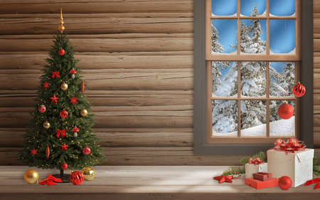 christmas decorations: Christmas scene with tree and decorations, lights, ornaments, balls, gifts. Wall and window in background. Stock Photo