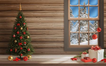 adornos navidad: Escena de la Navidad con el �rbol y decoraciones, luces, adornos, bolas, regalos. Pared y la ventana en segundo plano. Foto de archivo