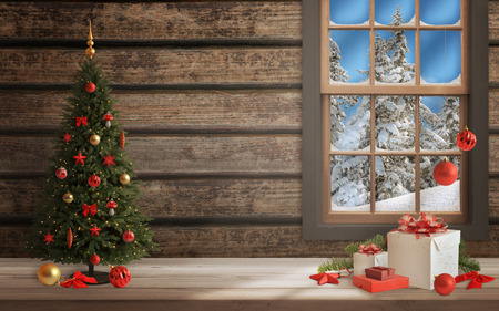 Christmas scene with tree and decorations, lights, ornaments, balls, gifts. Wall and window in background. Stock Photo