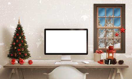コンピューターのモックアップの真っ白な分離のテーブルの上クリスマスの時間が表示されます。クリスマス ツリー、プレゼント、バック グラウン