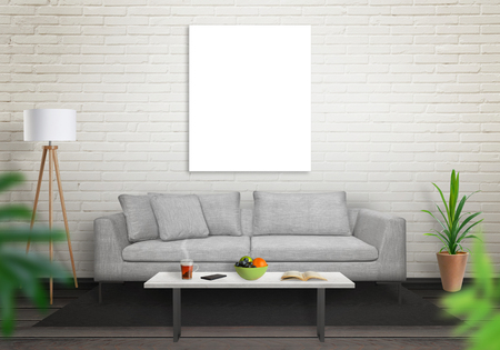 artwork: Isolated art canvas in living room for mockup. Brick white wall and black wooden floor. Sofa, table, lamp and plant in room.
