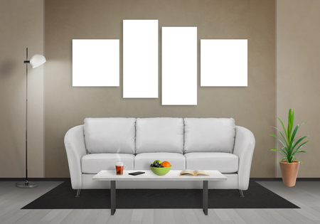 Four isolated art canvas in living room for mockup. Sofa, table, lamp and plant in room. 版權商用圖片 - 55561378