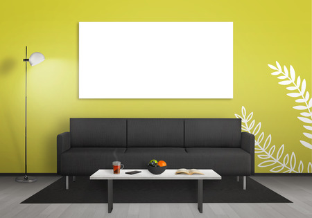 living room wall: Isolated wall art canvas wall. Living room interior with sofa, lamp, table. Stock Photo