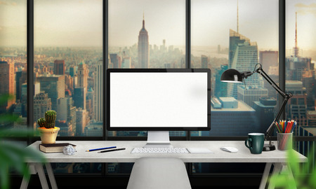 Isolated computer display for mockup. Office interior with lamp, plant, keyboard, mouse, pencils, book on desk.