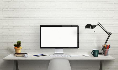 モックアップのコンピューター表示を分離しました。ウィンドウ、ランプ、植物、キーボード、マウス、鉛筆、机の上の本とオフィス インテリア。