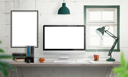 tea lamp: Computer display on office desk. Isolated, white screen for mockup. Creative modern desk with books, camera, keyboard, mouse, muffin, lamp, tea. Isolated picture, poster frame on wall