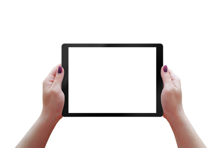 horizontal position: Tablet with white screen inwoman hands. Isolated tablet, horizontal, position.