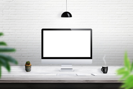 computer isolated: Computer isolated white display for mockup. Computer, plant, coffee, keyboard, mouse on desk Stock Photo